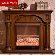Arch-shaped Roman Column dark brown Electric Fireplace