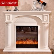 <b>Ivory White Roman Column Marble Fireplace</b>