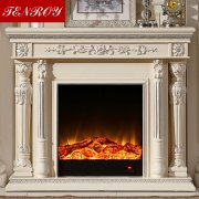 Dual Roman Column Shaped Ivery White Fireplace