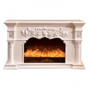 Ivory wood carved decorative heating fireplaces